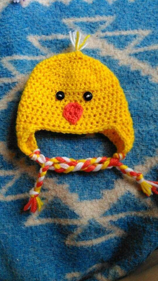 Crochet chick hat.