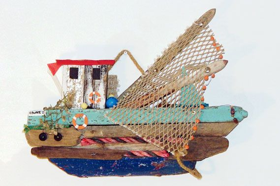 Driftwood boats and fish art | Salty Dog Gallery, Norfolk