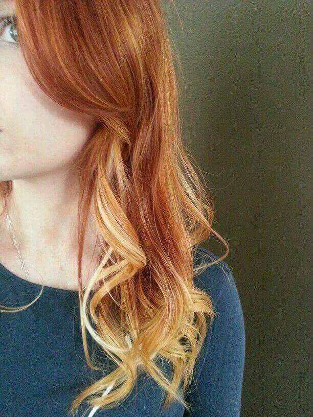 Ombre with red and blonde. Love it!