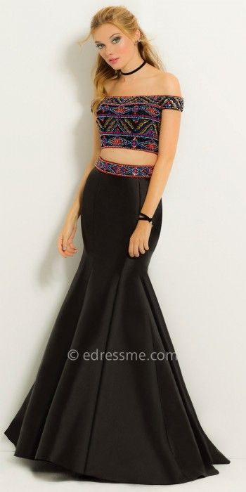 Suit up for a lavish night out in this Off the Shoulder Two Piece Beaded Mermaid Prom Dress By Camille La Vie. The off the shoulder neckline, Aztec beaded crop top, and mermaid skirt give this evening dress a dazzling look. #edressme