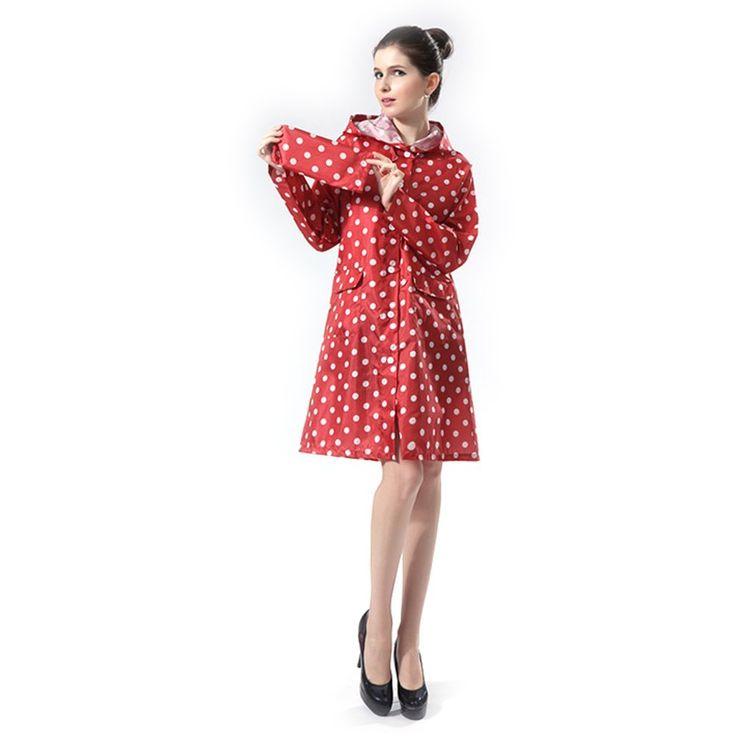 Damen Regenmantel Dopobo® Tupfen Regenjacke Wasserdicht Raincoat mit Punkten (Rot)