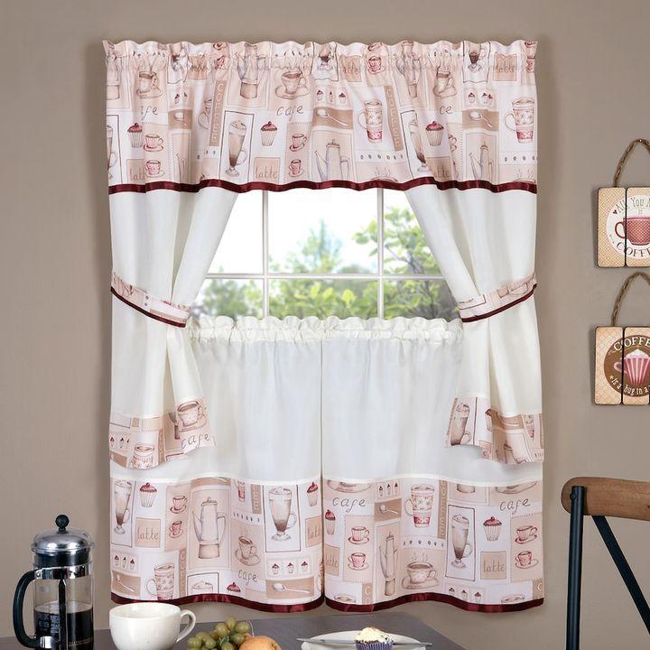 Achim Cappuccino Tier U0026 Swag Valance Kitchen Curtain Set