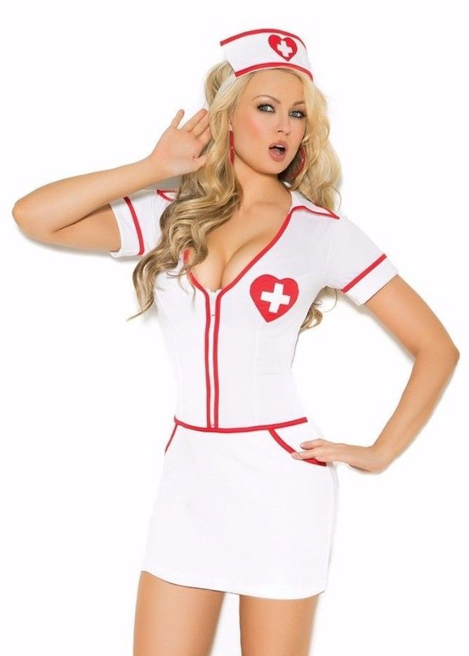 Sexy Nurse Costume XL Women Heart Role Play Halloween Cosplay White Red Dress #ElegantMoments #CompleteCostume #Halloween