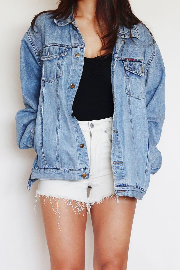 Black dress jean jacket - Over Sized Denim Jacket Denim Shorts Tank Top