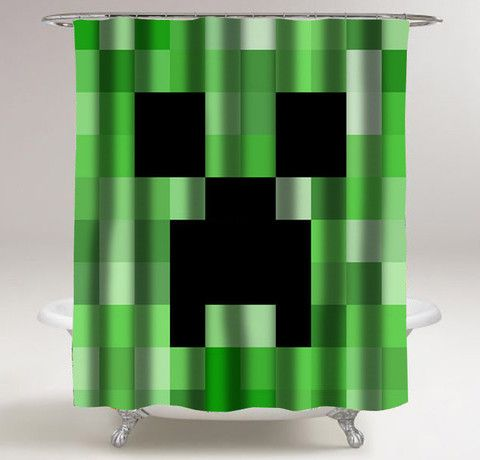 minecraft creeper shower curtain customized design for home decor