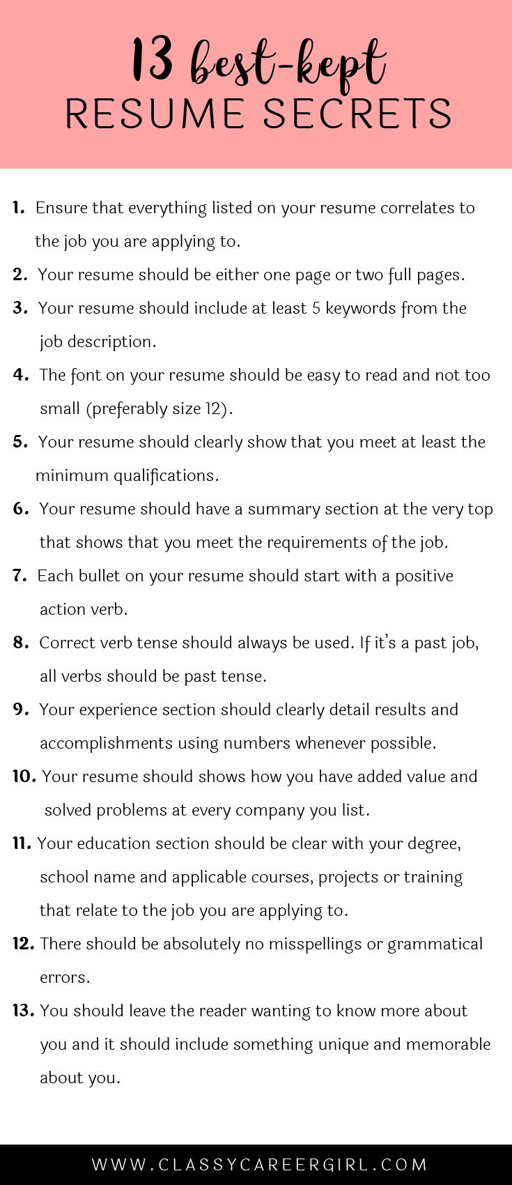 Some hiring managers will toss your resume out if you don't know these 13 resume secrets.