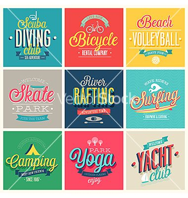 Summer sports graphic design beach volley ball yoga vector by aviany on VectorStock®