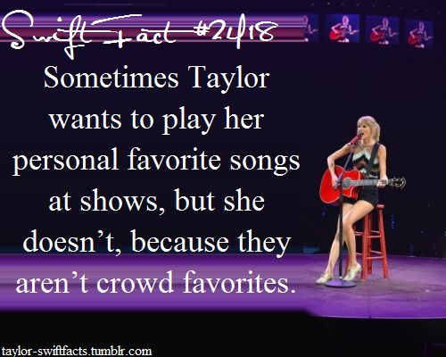 I wish she would. All her songs are my favorites and I'd love to know which of her songs she likes the most.