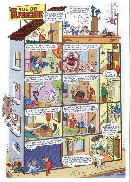 13 rue del percebe is een een-pagina-strip met een doorsnede van een huis dat sinds 1961 met dezelfde opmaak wordt gebruikt. Het origineel komt van Francisco Ibáñez.