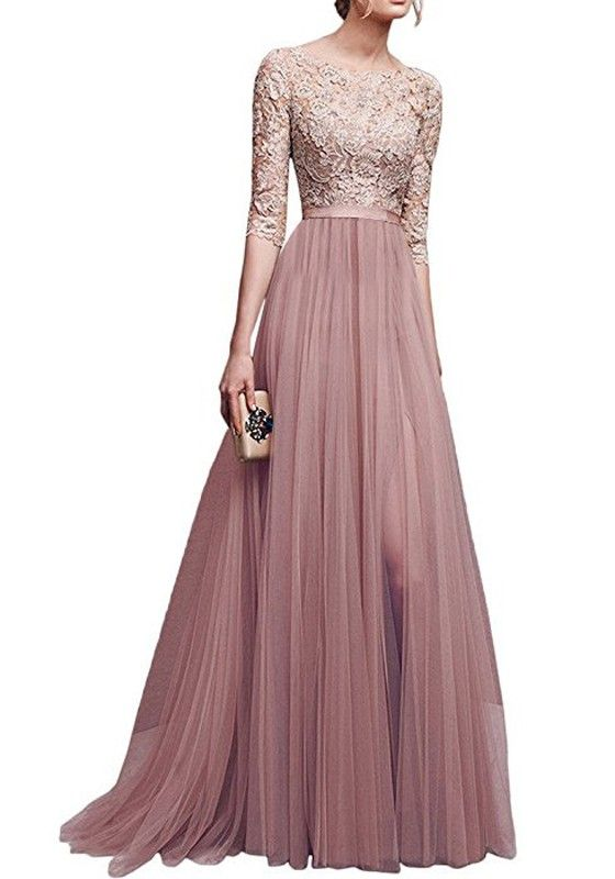 08b847255 Vestido largo encaje drapeado hendidura flowy banquete dama de honor  elegante codo manga rosa
