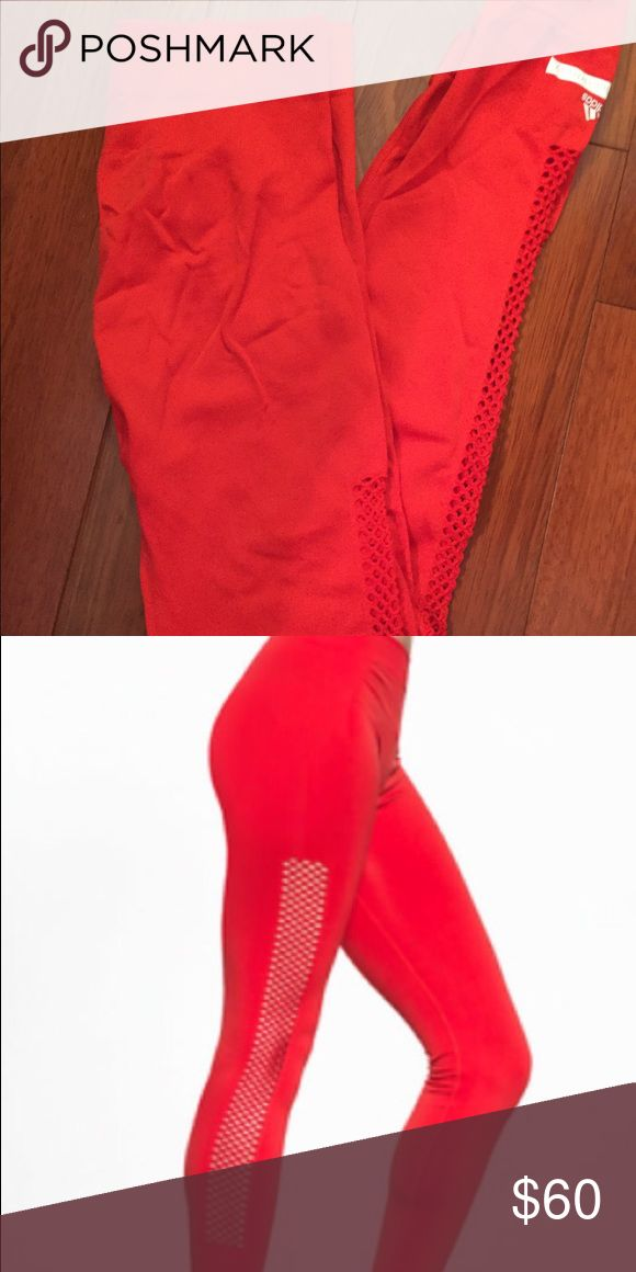 Stella McCartney S Red Leggings These red leggings are so comfortable! Worn once, like brand new as if the tags were still on. The perforated sides add nice detail! Adidas by Stella McCartney Pants Leggings