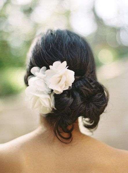 Another 25 Bridal Hairstyles & Wedding Updos | Confetti Daydreams - A beautiful knotted low bun with material flowers that adds a stunning and whispy feel to this hairstyle ♥ #Wedding #Bridal #Hair #Updo #Hairstyle ♥  ♥  ♥ LIKE US ON FB: www.facebook.com/confettidaydreams  ♥  ♥  ♥