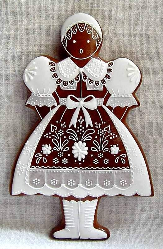 Gorgeous piping, vintage European gingerbread girl