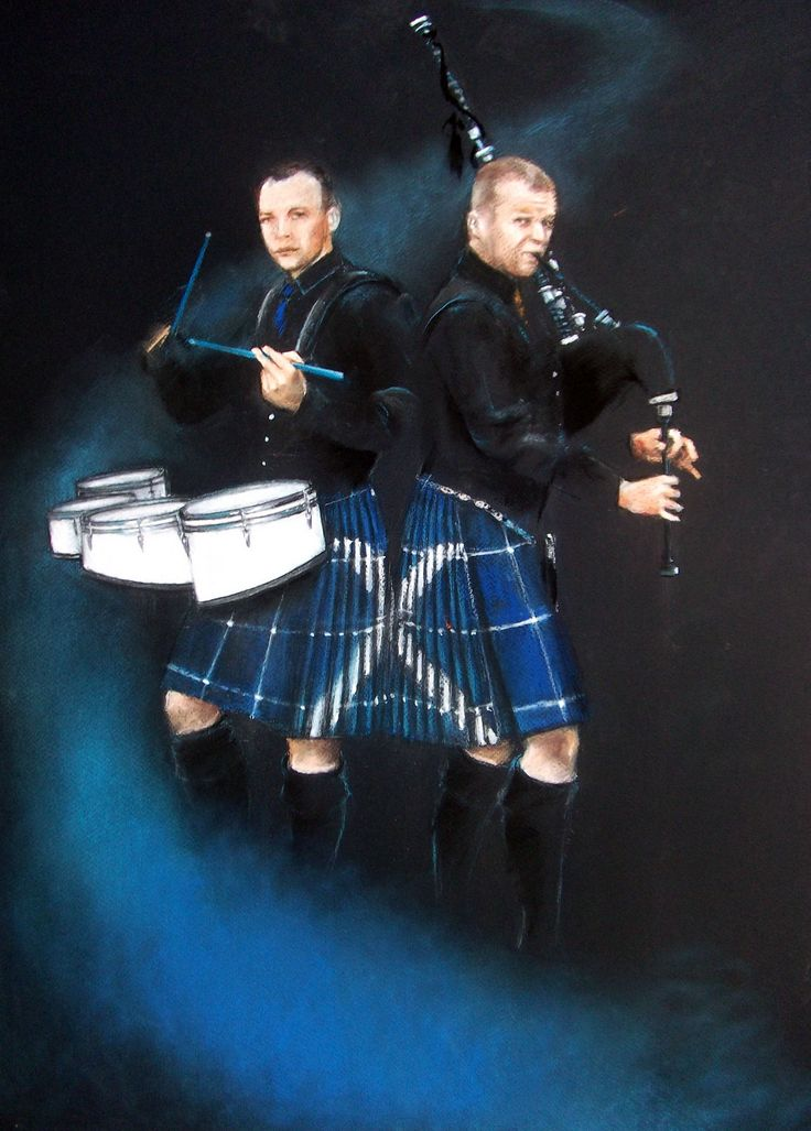 Pastel painting of well known group Drums and Roses wearing the Saltire kilt made by the Kilt Centre, Hamilton