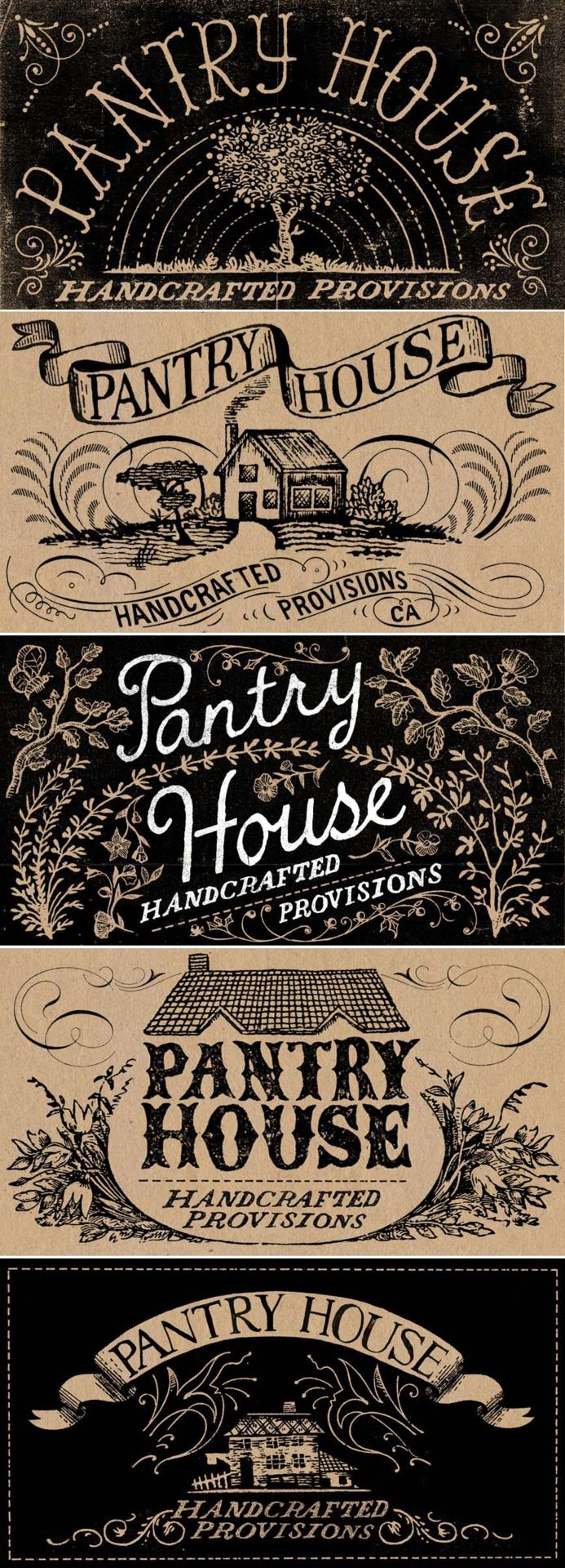HANDCRAFTED PROVISIONS  Don't mock the artisanal pickle makers. Pantry House is a small batch canning company in Santa Cruz, California. They asked me to design the labels for their jams, mustards, and pickles. These are just a few of the initial ideas.