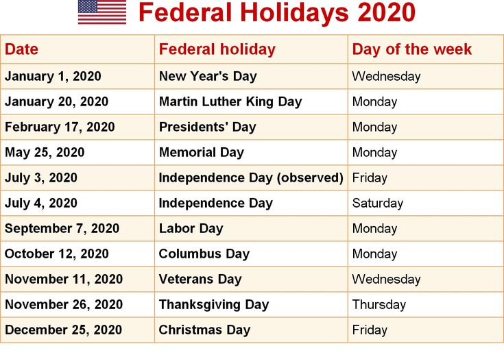 Holiday Countdown Calendar 2020 Us Federal Holidays With Images Federal Holiday Calendar Di 2020