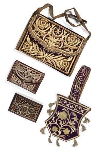 OTTOMAN CASES FOR QURAN AND QURAN JUZ / Osmanlı Altın Yaldız Gümüş Tel İşçilikli Çiçek ve Ay Yıldız Dekorlu Kuran ve Cüz Keseleri