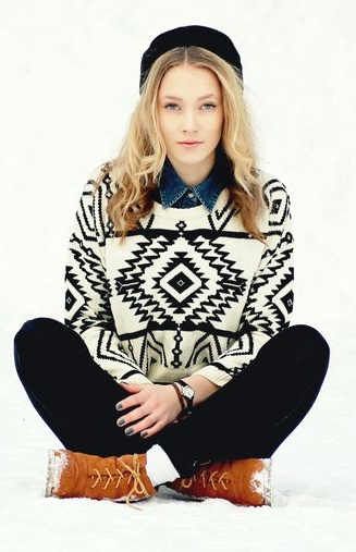 Tribal Print Knit Sweater and Matching Hat - Great Look for Winter