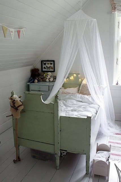 nursery, Little Girls Room. Love the mosquito netting and fairy lights.