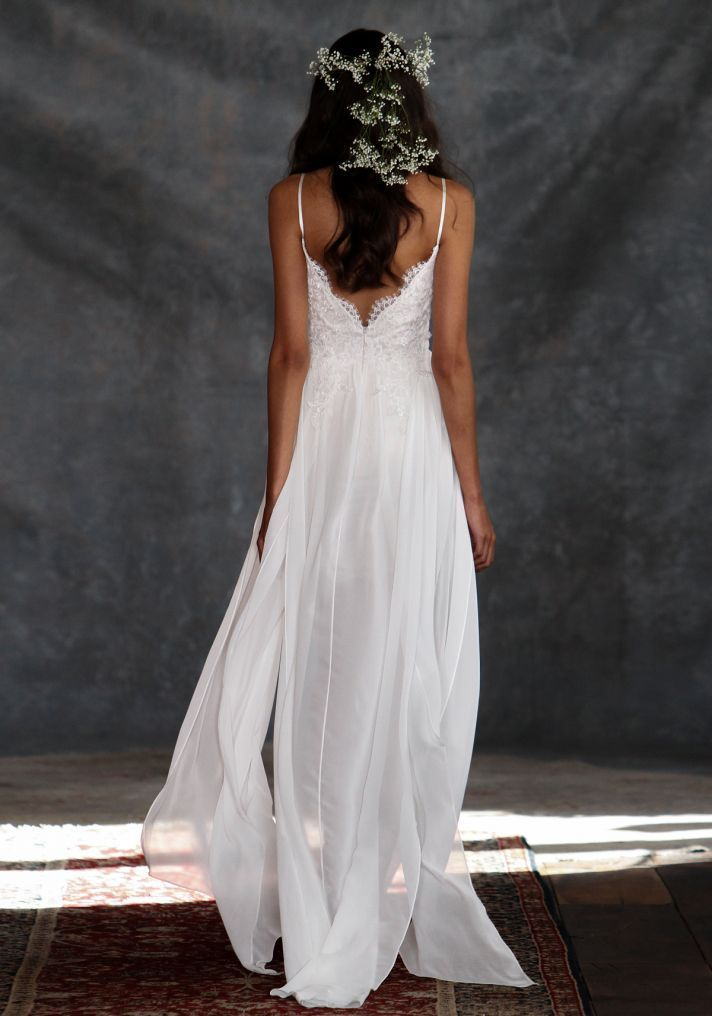 Wedding dress with delicate lace details from the  'Romantique' Collection by Claire Pettibone