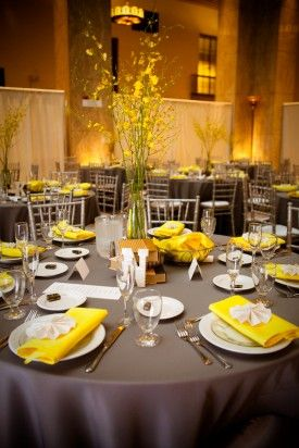 looove these colors! yellow will for sure be my main color!: Table Settings, Yellow Flowers, Yellow And Grey Wedding Tables, Yellow Wedding, Wedding Ideas, Simple Centerpieces, Receptions Ideas, Sets Inspiration, Wedding Tables Sets