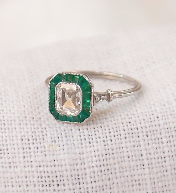 Art Deco Platinum Diamond and Emerald Engagement Ring 1.37 Carats