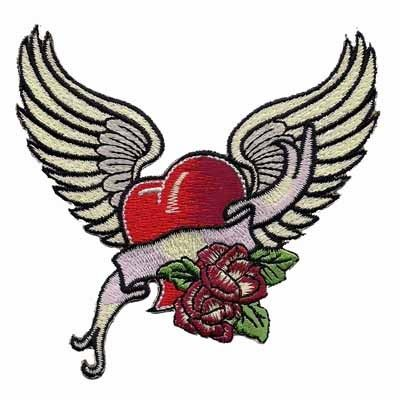 Such beautiful embroidery adorns this tattoo-style winged heart patch with roses and a banner This winged heart iron on applique has various shades of red and highlights in the heart giving it that 3-D effect The beautiful wings are spread with flair