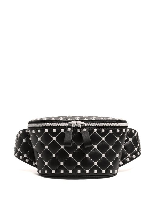 6567e47fa4f4 Valentino Rockstud Spike quilted-leather belt bag
