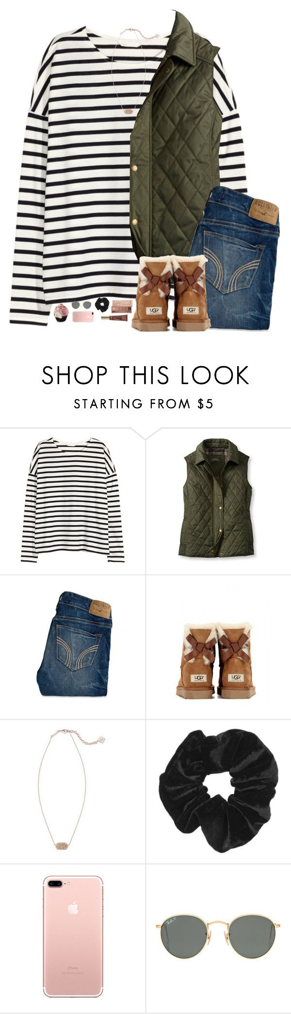 """Cant stop thinking about if I'm going to make the team"" by pineappleprincess1012 ❤ liked on Polyvore featuring H&M, L.L.Bean, Hollister Co., UGG Australia, Kendra Scott, Urban Decay, Topshop, Ray-Ban and Too Faced Cosmetics"