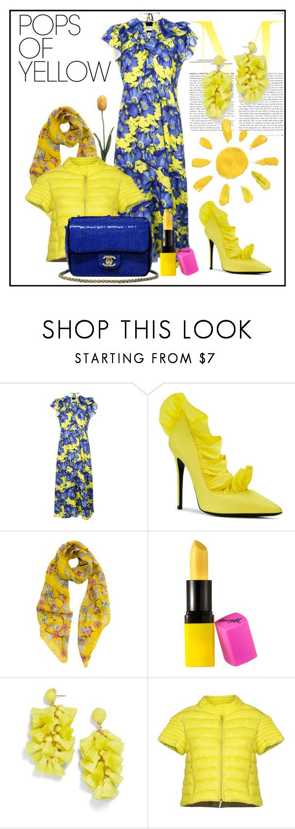"""""""Pops of Yellow"""" by enchantedseptember ❤ liked on Polyvore featuring Balenciaga, MSGM, Scialle, Barry M, BaubleBar, Puzzle Goose and Chanel"""