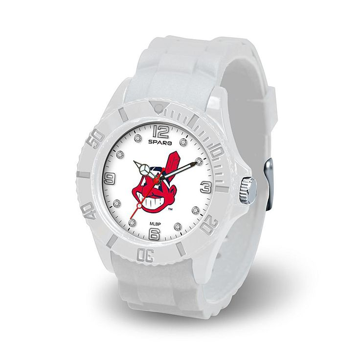 """Football Fan Shop MLB Team Logo """"Cloud Series"""" Crystal-Accented White Silicone Strap Watch - Cleveland Indians"""