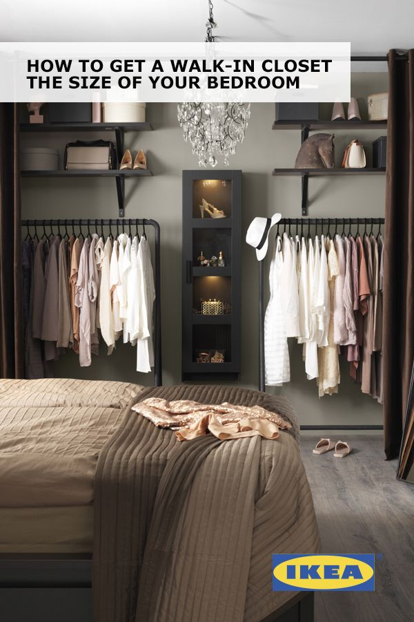 Create a walk-in closet the size of your bedroom with IKEA curtains, rolling clothes racks and display cabinets! Find out how to get this look in Your Stress-Free Organization Guide.