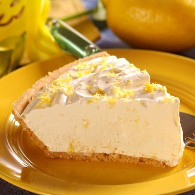 No-Bake Lemon Cloud Pie - Use low-fat condensed milk and cool-whip with a healthy homemade cereal crumb crust.