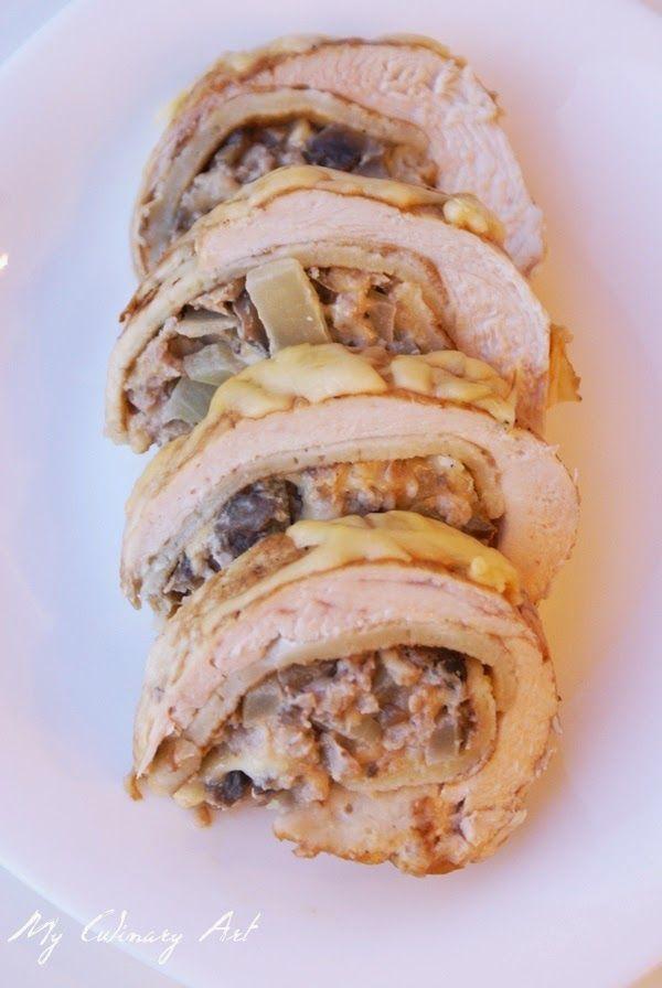My Culinary Art: Roladki z kurczaka z mięsem mielonym i naleśnikiem