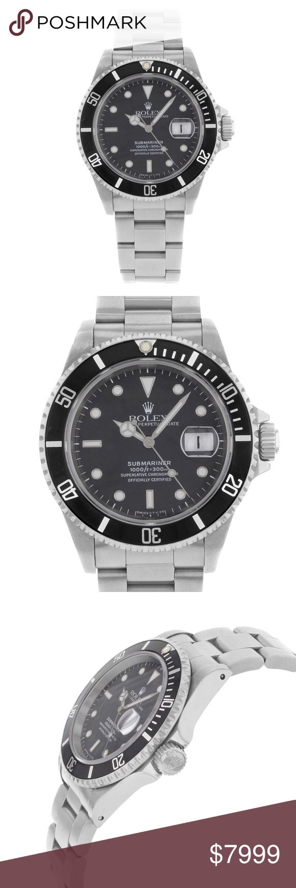 Rolex men's watch This pre-owned Rolex Submariner  16610  is a beautiful men's timepiece that is powered by an automatic movement which is cased in a stainless steel case. It has a round shape face, date dial and has hand sticks & dots style markers. It is completed with a stainless steel band that opens and closes with a fold over clasp. This watch was produced in 1997. This watch comes with a gift box and no original papers are supplied. Six months warranty on movement.  Wrist fit7.5 inch…