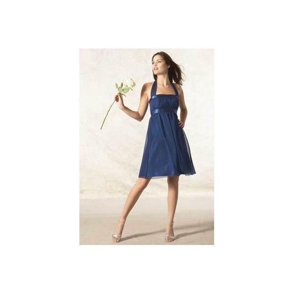 Marine blue halter short chiffon bridesmaid dress for Marine wedding bridesmaid dresses