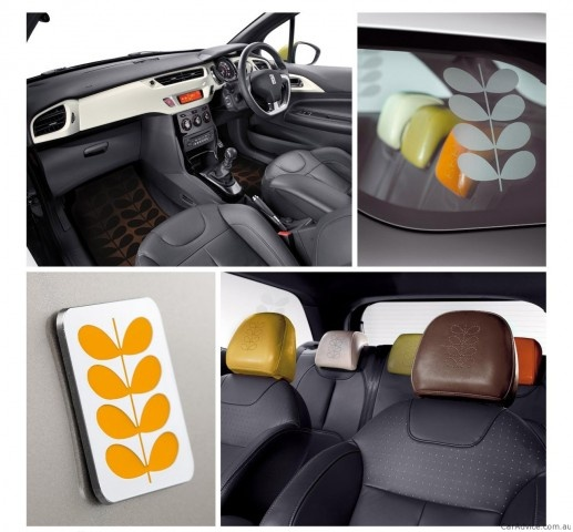 2011 Citroen DS3 by Orla Kiely Collection (interior). Love the floor mats and the embossed headrests.