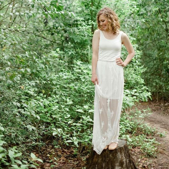 White lace maxi dress Worn once for senior pictures! White lace maxi dress. Charlotte Russe Dresses Maxi