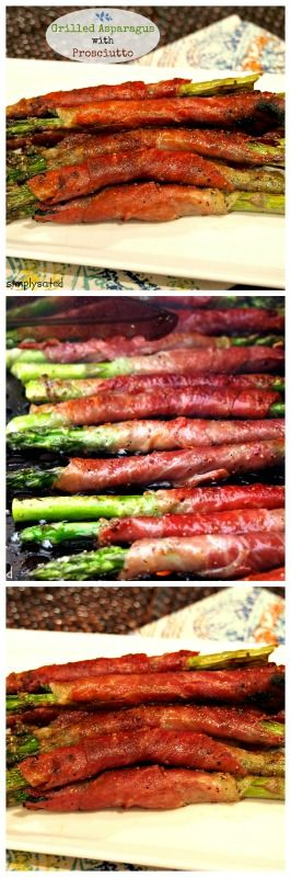 Grilled Asparagus with Prosciutto kick-starts summer grilling. Asparagus wrapped in prosciutto then grilled to perfection. Simple and delicious! www.simplysated.com