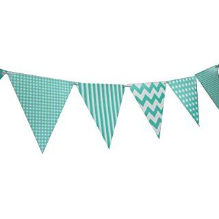 Quasimoon Teal Mix Pattern Triangle Flag Pennant Banner Decoration (11FT) by PaperLanternStore