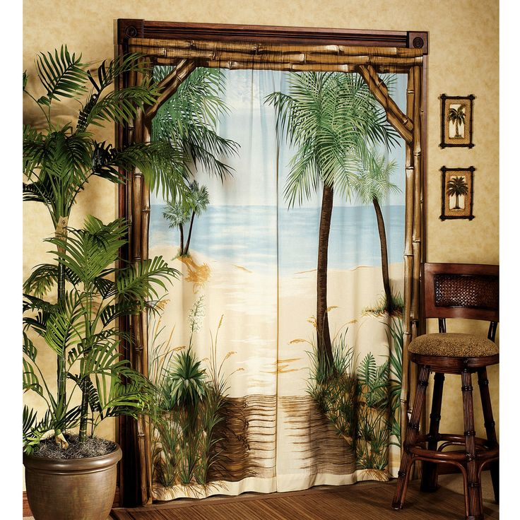 Beach Window Curtains Part - 39: Bamboo Beach Trompe Lu0027oeil Window Art - Trompe Loeil Curtain Panels - Window  - Touch Of Class