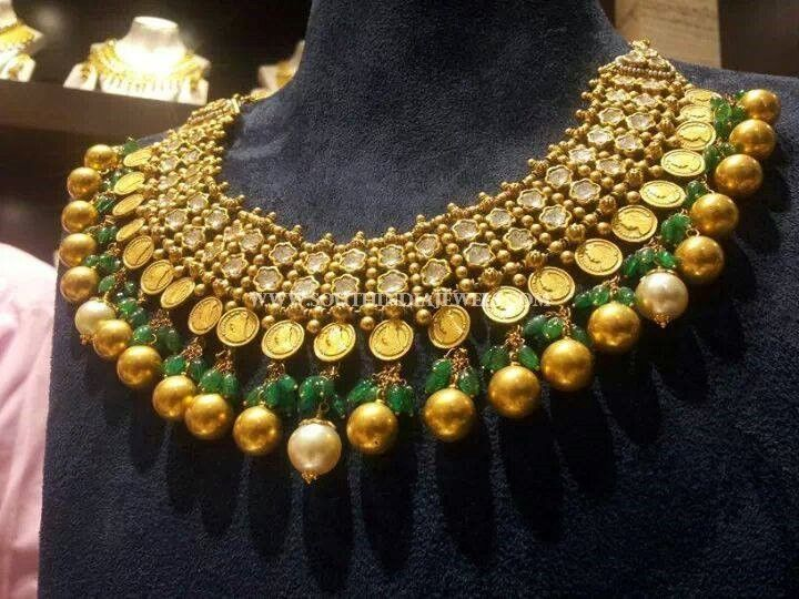 202 Grams Gold Diamond Kasumalai Necklace Designs From CMR Jewels