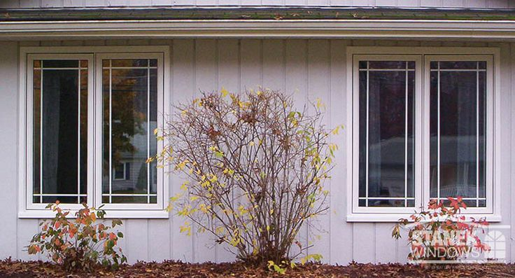White casement windows with single prairie metal grids. Learn more about Stanek Casement Windows.