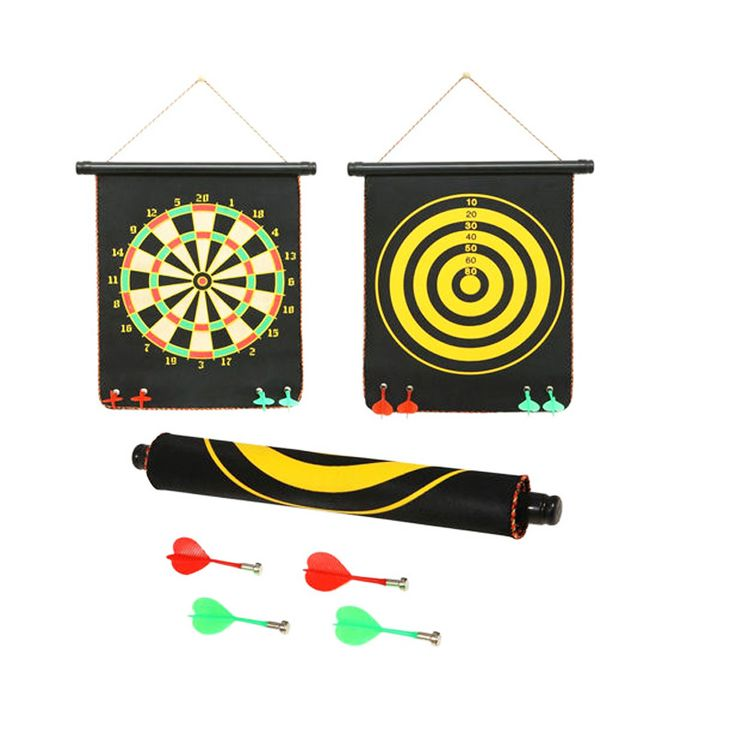 Magnetic Dart Board Description Double-faced hanging up magnetic dartboard  Magnetic design for safe  Exercise your targeting capabilities as well as for entertainment  Fit for five ages above  Dartboard Material: High-grade Lint Iron Powder  Darts Material: Plastic + Metal + Magnet  Dimension: Approx. 15 inch / 38 cm  Packaging Size: 15 inch / 38 x 8 x 8 cm  Package Includes:-  1 x Magnetic Dartboard  4 x Darts  1 x Tube for Storage