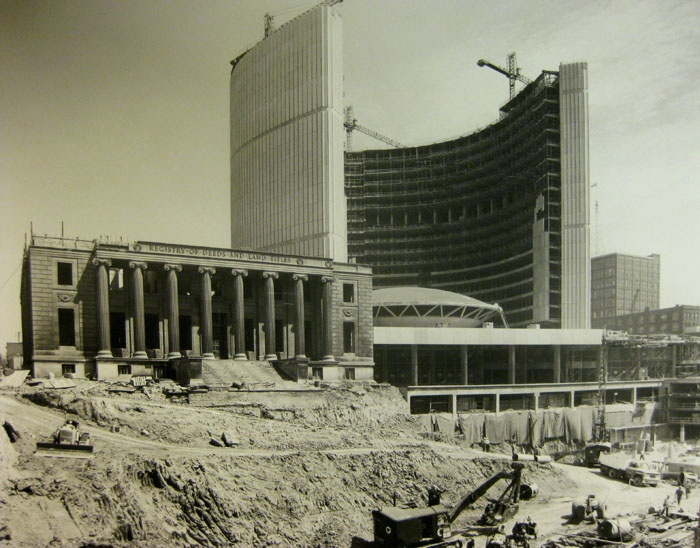 NEW city hall being constructed in the 1960's ... I wish they had kept the amazing beaux arts building on the left side in the photo