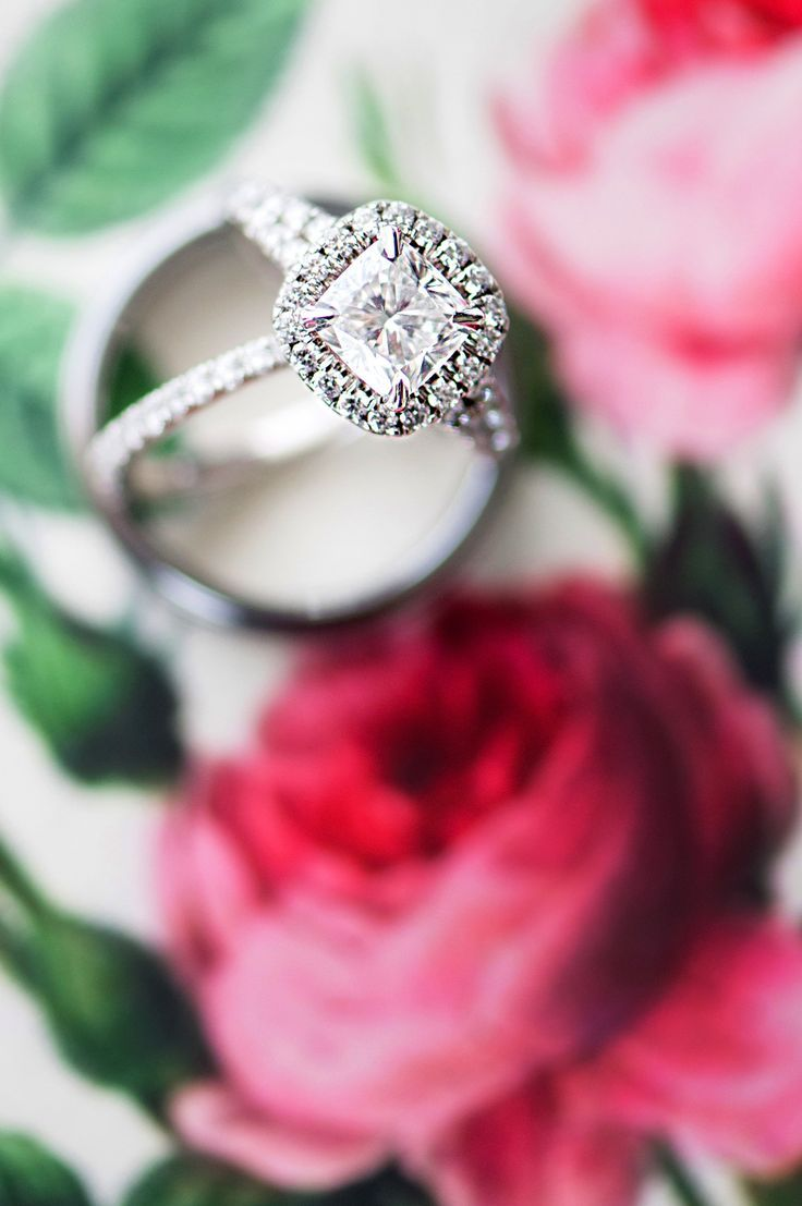 Cushion-cut diamond, engagement ring, platinum, pave band // Amanda Megan Miller Photography