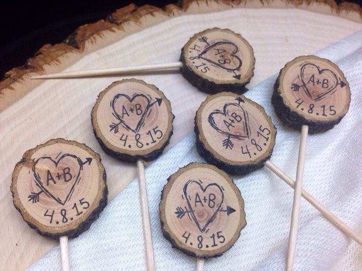 Rustic Wedding Cupcake Toppers Custom Initials / Event Date / Tree Slice / Bridal Shower Party Picks / Wedding Decor / Wood Picks by SheLikesLetters on Etsy https://www.etsy.com/listing/183602907/rustic-wedding-cupcake-toppers-custom