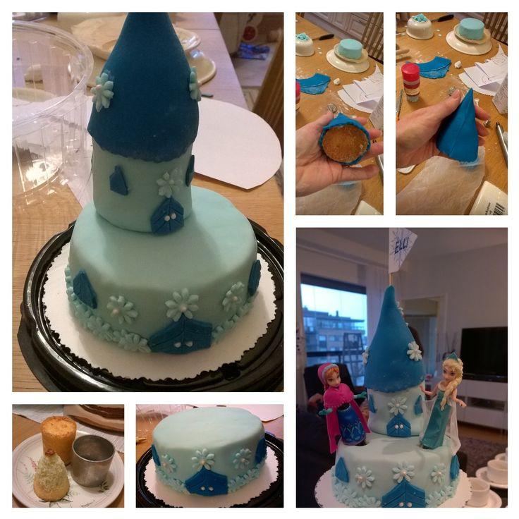 Frozen cake for Ellis 3 years birthday / Elli toivoi 3-vuotispäiväkseen linnakakkua. Tässä valmistuu linnan torni. Teemana Frozen elokuva. 7.11.2015