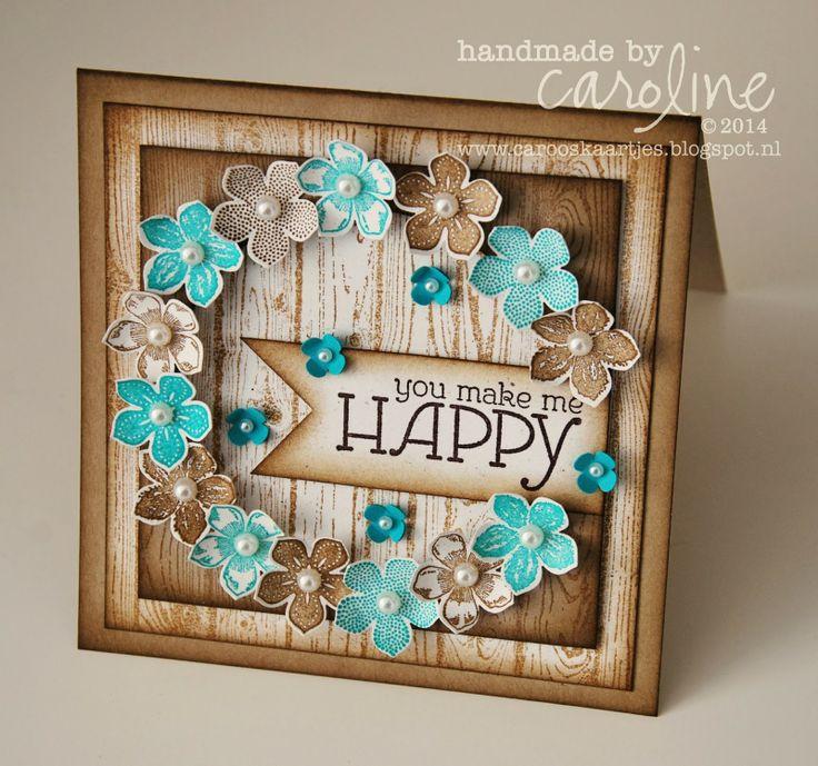 You make me happy card Stampin' Up! petite petals and hardwood background stamp Pinkies Spring/Summer bloghop 8 februari 2014