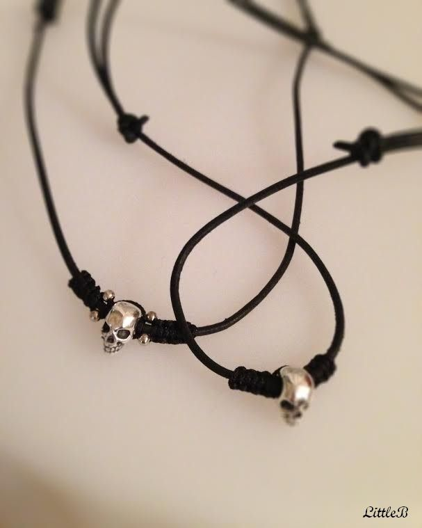 Leather necklace with skull
